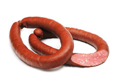 Two rings of  smoked sousages with section Royalty Free Stock Photography