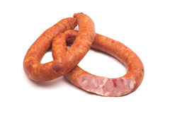 Two rings of  smoked sousages with section Royalty Free Stock Images
