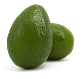 Two ripe avocados isolated Royalty Free Stock Photography