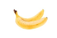 Two ripe bananas isolated on white Stock Photos