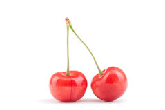 Two ripe cherry Stock Images