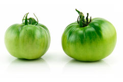 Two Ripe Green Tomatoes Isolated on White Stock Image