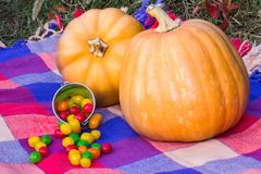 Two ripe Halloween pumpkins and candies. Two ripe Halloween pumpkins and colorful candies Royalty Free Stock Photography