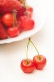 Two ripe juicy cherries Stock Photography