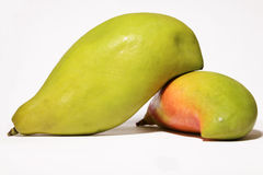 Two ripe mango on white background Stock Images