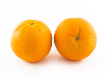 Two Ripe orange. Isolated on white stock images