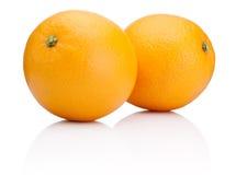 Two Ripe Oranges fruit isolated on white Stock Image