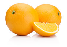 Two Ripe Oranges fruit and slice isolated on white Stock Images