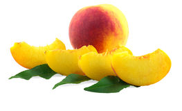 Two ripe peach with leaves Stock Photos