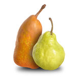 Two Ripe Pear Couple on White Royalty Free Stock Photos