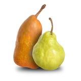 Two Ripe Pear Couple on White Royalty Free Stock Photos