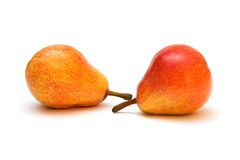 Two ripe pears. Two ripe whole pears; isolated on white background stock image