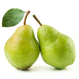 Two ripe pears. Isolated on white background Royalty Free Stock Image