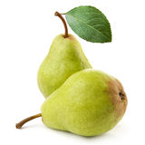 Two ripe pears. Isolated on white background royalty free stock photo