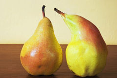 Two ripe pears. Closeup of the two ripe pears Royalty Free Stock Photography