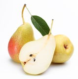 Two ripe pears and a half of ones. Royalty Free Stock Photo