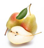 Two ripe pears and a half of ones. Royalty Free Stock Photos