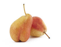 Two ripe pears on white background. Two pears on white background Stock Photos