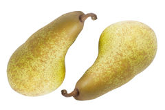 Two ripe pears on white background Royalty Free Stock Photos