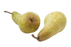 Two ripe pears on white background Stock Photos
