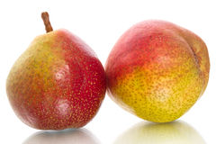 Two ripe pears on white Royalty Free Stock Images