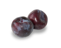 Two ripe plums isolated Stock Image