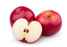 Two ripe red apples and half of apple Stock Image