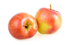 Two Ripe Red Apples Isolated on White Royalty Free Stock Photos