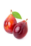 Two ripe red plum with leaf isolated. Stock Photos