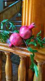 Two ripe red pomegranates. royalty free stock images