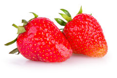Two ripe red strawberries Stock Photo