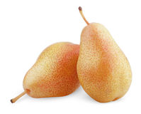 Two ripe red yellow pear fruits Royalty Free Stock Photos