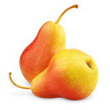 Two ripe red-yellow pear fruits Stock Photo