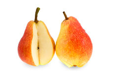 Two ripe red and yellow pears. Royalty Free Stock Image