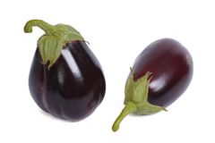 Two ripe round aubergine isolated on white Stock Photos