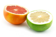 Two Ripe Sliced Grapefruits Isolated Stock Photos