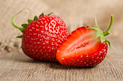 Two ripe strawberries Royalty Free Stock Photos
