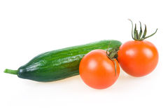 Two Ripe Tomatoes and Cucumber Isolated Royalty Free Stock Photo