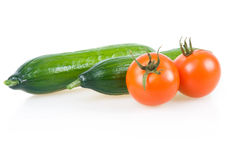 Two Ripe Tomatoes and Cucumber Isolated Royalty Free Stock Image