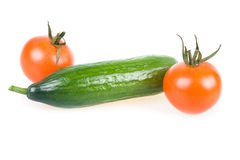 Two Ripe Tomatoes and Cucumber Isolated Stock Photography