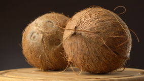 Two ripe tropical coconuts rotating on a wooden table against black background. Loopable. Two ripe tropical coconuts rotating on a wooden table against black stock footage