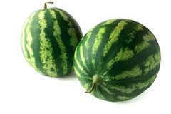 Two ripe watermelons berry with clipping path Royalty Free Stock Images