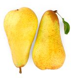 Two ripe yellow pears on white background, close up Stock Photography