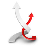 Two Rising Up Twisted RedWhite Arrows On White Background Royalty Free Stock Photos