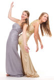 Two rival girls in gold and silver dress Royalty Free Stock Photo