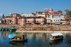 Two river boats floating on the river of asian city Royalty Free Stock Photography