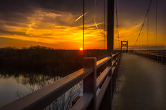 Two Rivers Bridge. This is a sunset view of the bridge over the Cumberland River in Nashville, TN Stock Image