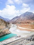 Two rivers are confluence at Zanskar Rivers, Leh Ladakh, India. Two rivers are confluence at Zanskar Rivers, Ladakh - Jammu and Kashmir - India Stock Images