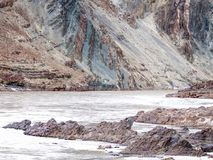 Two rivers are confluence at Zanskar Rivers, Leh Ladakh, India. Two rivers are confluence at Zanskar Rivers, Ladakh - Jammu and Kashmir - India Stock Photos