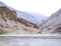 Two rivers are confluence at Zanskar Rivers, Leh Ladakh, India. Two rivers are confluence at Zanskar Rivers, Ladakh - Jammu and Kashmir - India Stock Photo